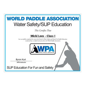 World Paddle Association Certification