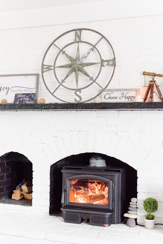 Fireplace inside Latitude Lake House